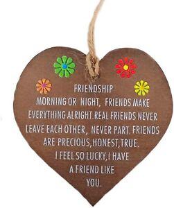 Handmade Wooden Hanging Heart Friendship Gift Best Friend plaque