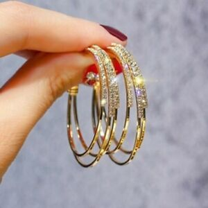 Elegant Ear Stud Gold Hoops Women Crystal Hook Jewelry Lady Earrings Dangle Gift