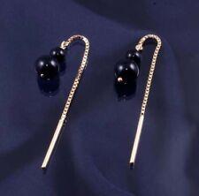 9ct Gold Black Onyx Bead Chain Pull Through Earrings.