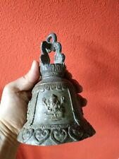 Antique Thai Bell Ganesha Brass Clapper Sound Temple Hanging Decor Collectible
