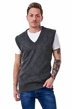 Mens Argyle Knitted V Neck Classic New Tank Top slipover Jumpers S to XL