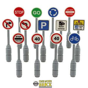 Road Signs. Traffic roadworks roadsigns x13 - custom prints   All parts LEGO