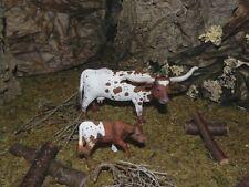 "Texas Longhorn Cow Calf Figurines for 3.5"" Nativity Farm Decor Schleich"