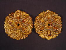 RARE PAIR of 1800s CURTAIN TIEBACKS ROCKINGHAM GLAZE YELLOW WARE
