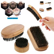 Men Boar Hair Bristle Beard Mustache Brush Wood Handle Comb Facial Shaving Tool