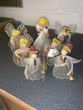 Vintage Lot Of 7 Christmas Angels Silk Spun Pipecleaner Type With Musicical
