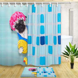 "Cute Pug in Bathroom Mildew Proof Waterproof Fabric Bathtub Shower Curtain 71"""