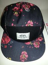 NWT ECKO UNLIMITED BLACK FLORAL ROSE FLOWERS 5 PANEL HAT CAP OSFM ADJUSTABLE