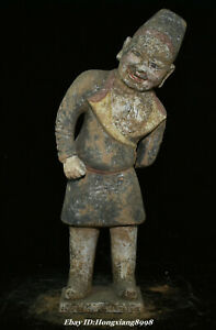 """16.1"""" Old Chinese Tang Sancai Pottery Dynasty Stand People Person Huren Statue"""