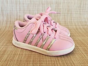 Toddler Girls K-SWISS Pink Silver Leather Sneakers Size 7
