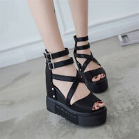 Women's Punk High Heel Wedge Platform Peep Toe Sandal Ankle Strap Gothic Shoes