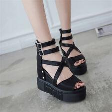 Women's Punk High Heel Wedge Platform Peep Toe Sandal Ankle Strap Gothic Shoes