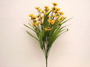 "YELLOW Mini Sunflowers Bush Artificial Silk Flowers 19"" Bouquet 6178YL"