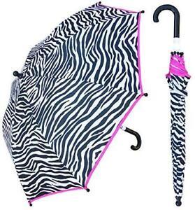 RainStoppers Girl's Zebra Print Umbrella, 34-Inch, Black, Model: W104CHZEBRA