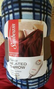NEW Sunbeam Soft & Cozy Fleece Heated Throw Blanket ~ 50 in x 60 in ~ Blue Plaid