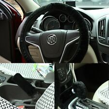 Universal 3 Pcs Set Black Imitation Wool Car Steering Wheel Handbrake Accessory