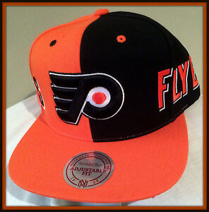 PHILADELPHIA FLYERS MITCHELL AND NESS SPLIT COLOR ADULT SNAPBACK CAP FREE SHIP