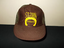 VTG-1980s St. Johns Feeds Seeds Horseshoe farming ag livestock animals hat sku9