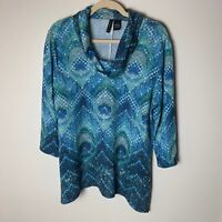 New Directions Women's Top Size Large Cowl Neck 3/4 Sleeves Bling Front Blue