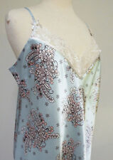 MORGAN TAYLOR Lt Blue w Lt Pink Floral Camisole Silky Nightie Gown Lingerie - XL