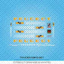 Peugeot Tandem Bicycle Decals - Transfers - Stickers - Orange & Black - Set 756