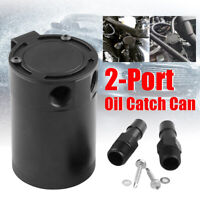 Universal 2 Port Compact Oil Catch Can Tank Reservoir Baffled Air Oil Separator