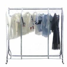 Rack Clothes Cover Transparent Square Full Floor Standing Home Garment Coat Dust