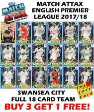 MATCH ATTAX 2017/18 SWANSEA CITY  FULL TEAM SET 18 CARDS - BUY 3 GET 1 FREE