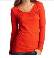 NWT Ann Taylor LOFT Long Sleeve Shirred Scoop Neck Knit Tee Top  $30  Red   NEW