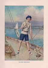 Girl BOATING YACHT DECKHAND SWAB THE DECK SHIP MATE SAIL 1920s Vintage Art Print