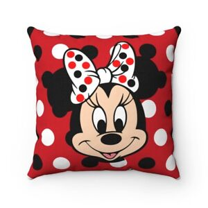 Minnie Mouse Red & Black Polka Dots Spun Polyester Square Pillow-Gift For Her