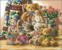 14 count aida needlepoint cross stitch teddy bears kit w colorful chart UKA013