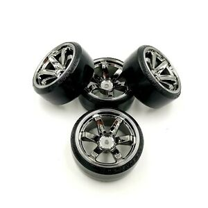 1/10 RC Rota Style Gunmetal Wheel & Drift Tyre Set 12mm HEX Drift 6mm OS Tamiya