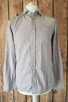 Mens Fat Face Long Sleeve Shirt Red Blue Stripe Small 40 Chest