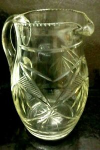 Antique Etched 10 Inch Tall ETCHED CRYSTAL Jug/Pitcher Handled Vase 18 x 18 Cm