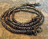 Vintage 925 Necklace and Bracelet Wheat Chain Set Parure 70 Grams