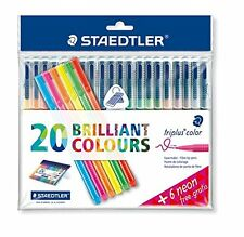 Staedtler 323SSB20P1 Triplus Colour Fibre-Tip Pen with 6 Neon Pens - Assorted