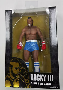"""NECA Rocky III 40th Anniversary Series 1 CLUBBER LANG Blue Trunks 7"""" Figure"""