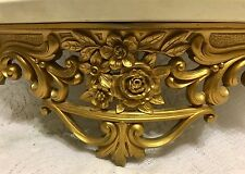 Vintage Hollywood Regency Bed Crown Ornate Gold Wall Shelf Faux Marble Syroco