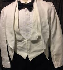 Vintage British Army Officer White Cotton Mess Dress Tunic, size 34