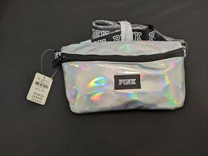 NEW VICTORIA'S SECRET PINK IRIDESCENT HOLOGRAPHIC SILVER LOGO WAIST FANNY PACK