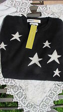 new 100% CASHMERE CLEMENTS RIBEIRO black JUMPER + white STARS rrp £245 bnwt MED