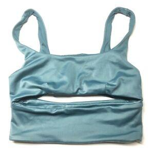 Alo Yoga Slit Sports Bra Blue Womens XS Soft Scoop Neck Cutout Front & Back