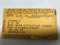 Pennsylvania Paper Operator's License Ephrata, Pa.Dept. of Revenue 1960 Vintage