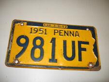 1951 Pennsylvania License Plate 981UF