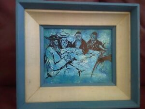 Framed painting on canvas Jewish Rabbis' Scholars reading old books - signed Mar