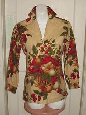 LADY HATHAWAY Vintage Canvas Top Shirt Blouse Tunic BERRY FRUIT BOTANICAL PRINT