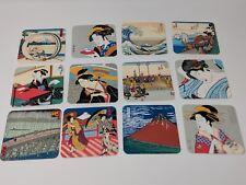 VINTAGE 10 JAPANESE FINE ART UKIYOE COASTERS  Miniature Block Prints (new)