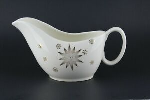 MCM Gravy Boat Retro White with Gold Star & Snowflakes Atomic Look