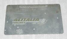 Rare Vintage Alitalia Airlines Metal Ticket Validation Plate Travel Agency